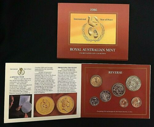 Royal Australian Mint 1986 Uncirculated Coin Collection Year of Peace