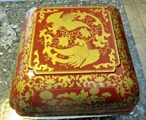 """Asian Cimarrillion Red with Gold Dragons Design Large Laquer Box - 8"""" x 10"""""""