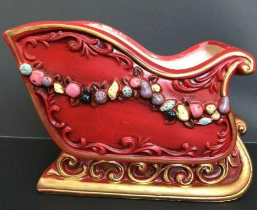 Vintage Napcoware Japan Red Gold Ceramic Christmas Sleigh Planter Painted Fruit