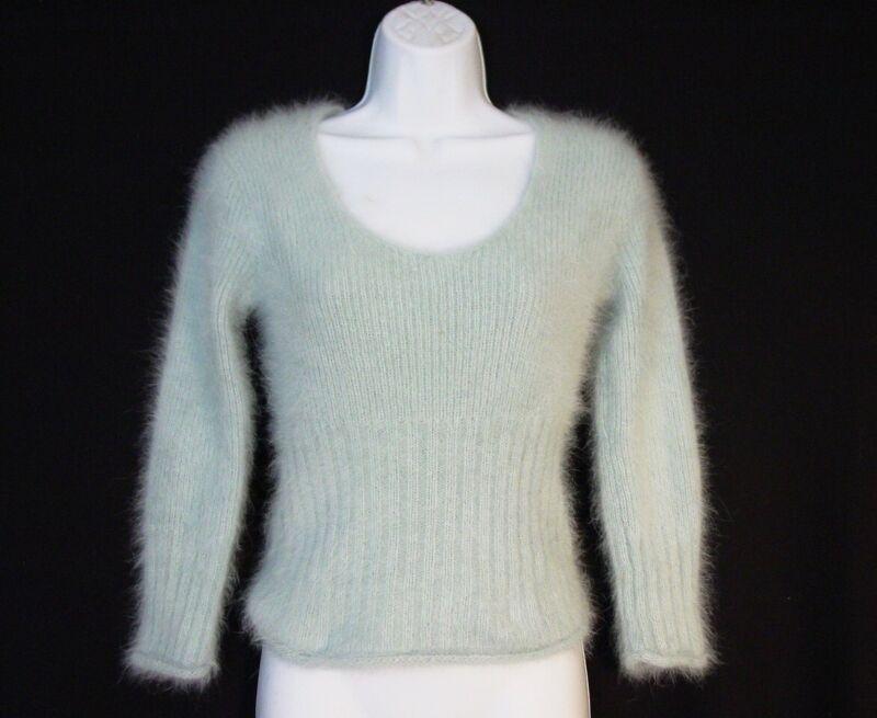 Vtg Express Sweater 80% Angora Fuzzy LS Pullover V-Neck Pastel Blue S