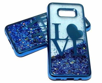 (For Samsung Galaxy S8 - Blue Love Heart Glitter Stars Liquid Waterfall Skin Case)
