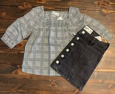 Abercrombie Kids Girls Black & White Checkered Top/ Denim Black Skirt Size 5/6