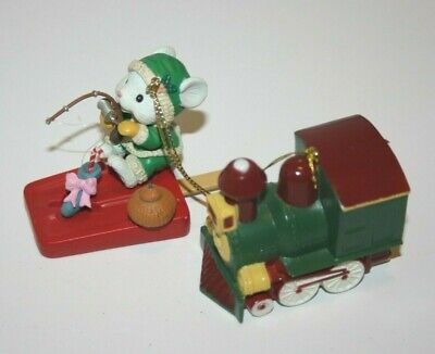 Set of 2 Christmas Ornament Mouse Popsicle Fishing Luster Fame & Train