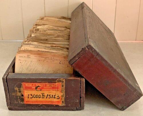 Antique 1915 Wood Pharmacy Paper Prescription File Box Rx Ephemera Doctor Script