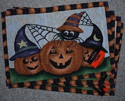 SET OF 4 TAPESTRY PLACEMATS/ HALLOWEEN/ FALL/PUMPKINS/JACK O LANTERNS  NWT - Halloween Place Mats