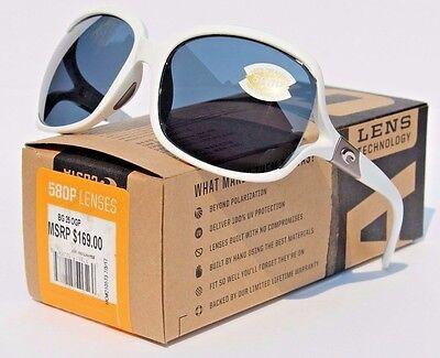 COSTA DEL MAR Boga 580 POLARIZED Womens Sunglasses White/Gray 580P NEW