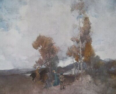 LANDSCAPE with Archer Huntress by Sir W. Russell Flint - SCARCE 1915 Color Print