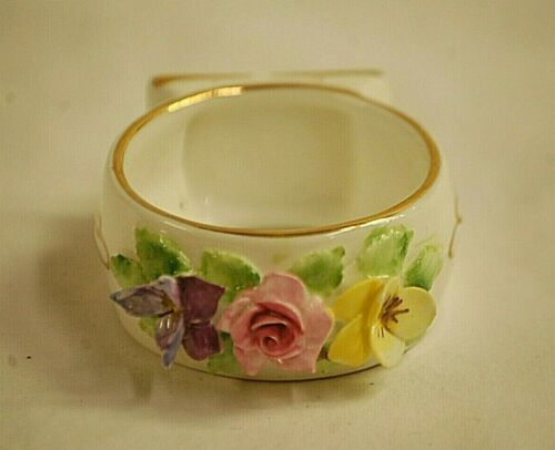 Old Vintage Royal Adderley Bone China Napkin Ring White Floral Gold Trim England