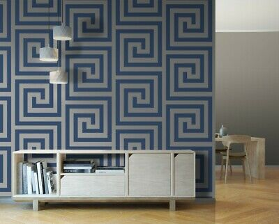 VERSACE STYLE GREEK NAVY BLUE & SILVER WALLPAPERS
