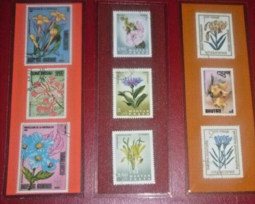3 BOOKMARKS~FLOWERS Laminated POSTAGE STAMPS AWESOME! LOT! COLORFUL! 779