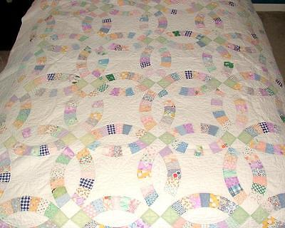 Vintage Handmade PATCHWORK Wedding Ring QUILT Embroidered COVERLET 86x72