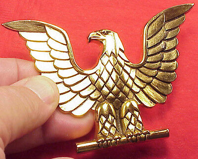 Vintage USN Eagle Emblem Gold Plated 3 7/8 inch Decoration Heavy 1/8 thick