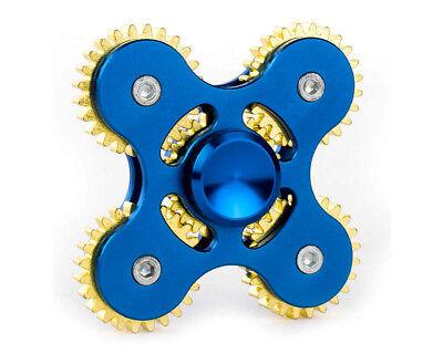 Hand Spinner Metal Tri Fidget 5 Gear Link Desk Toy Kids Or Adult - Blue