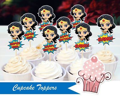 12 or 24 Wonder Woman paper cupcake toppers Birthday decoration party supplies - Wonder Woman Party Decorations