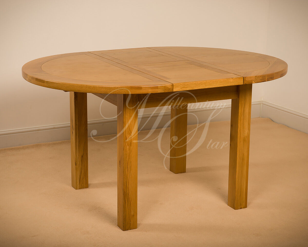 Msl solid wood chunky oak round extending dining table ebay for Solid wood round dining room table