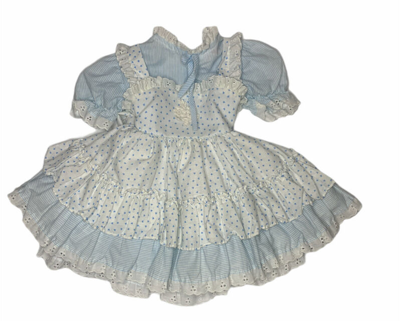 Vintage Miss Quality Blue Ruffles White Lace Girls Dress 3T Hearts Stripes