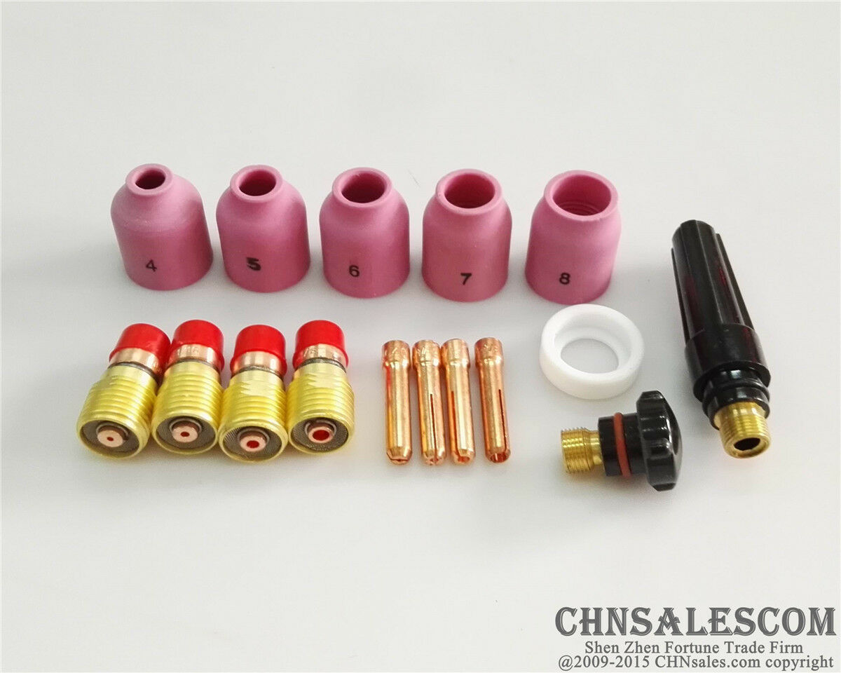 """11 pcs TIG Welding Stubby Gas Lens #12 Pyrex Cup Kit  for Tig WP-17//18//26 1//8/"""""""