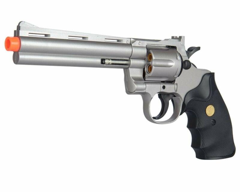 Silver G36S Spring Airsoft Gun 6 Shot 357 Magnum Revolver with Shells + 6mm BBs