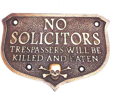 NO SOLICITORS SOLID BRASS PLAQUE WITH ANTIQUE FINISH WALKING DEAD
