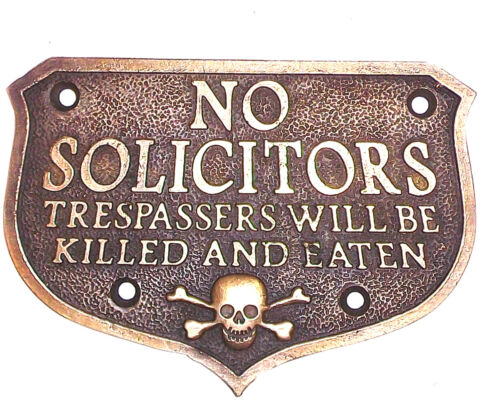 No Solicitors Solid Brass Plaque Antique Finish
