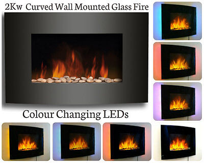 Wall Mounted Electric Fireplace Glass Heater Fire Remote Control LED Back lights