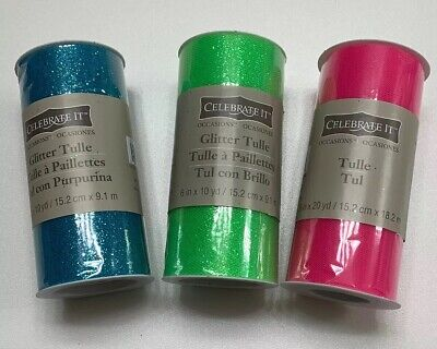 Celebrate It Occasions Tulle Blue, Green And Pink, Glitter, 100% Nylon - Celebrate It Occasions