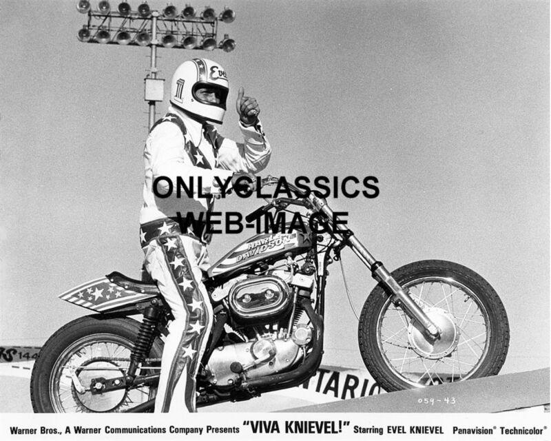 1977 VIVA EVEL KNIEVEL HARLEY DAVIDSON XR-750 MOTORCYCLE DAREDEVIL 8X10 PHOTO