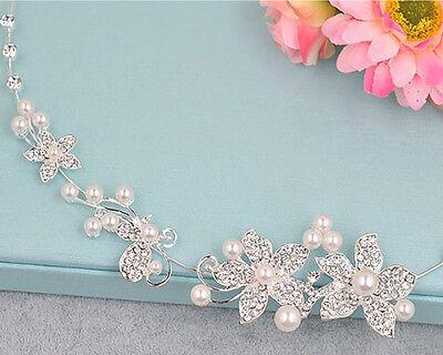 Silver Crystal Pearls Flower Wedding Bridal Hair Pin Hairpin Clip Headband Comb