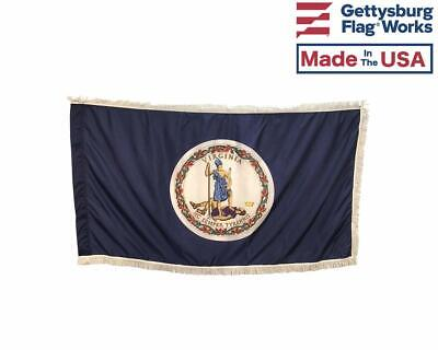 - 3x5' Virginia Commonwealth Indoor Flag with Pole Hem & White Ornamental Fringe