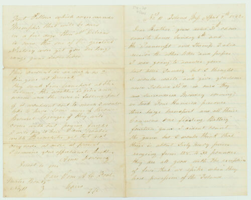 6th Maine, Mortar Boat Letter re: Conquest of Island No. 10, Missouri 1862