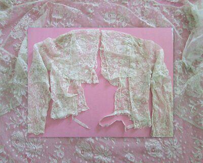 ANTIQUE LACE CLOTHING FRAGMENTS Bodice Fine Net Flounce Valenciennes Textiles
