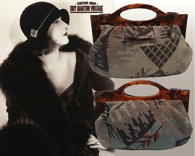 1920s Style Purses, Flapper Bags, Handbags ANTIQUE ART DECO 20s TORTOISESHELL FRAME TAPESTRY BAG HANDBAG CLUTCH SILK LINING $172.75 AT vintagedancer.com