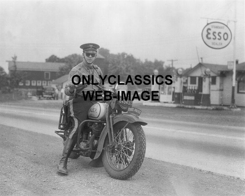 1934 HARLEY DAVIDSON VL MOTORCYCLE TROOPER NJ STATE POLICE 8X10 PHOTO ESSO GAS