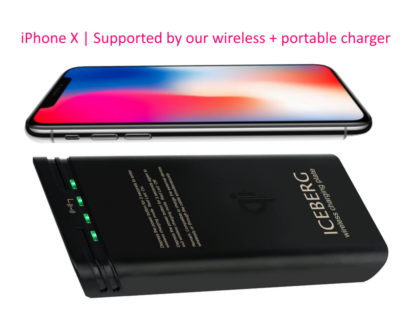 Powerbank with iPhone X or Samsung wireless charger (white)