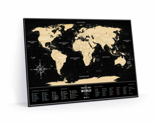 BIG GOLD SCRATCH OFF TRAVEL MAP BLACK WORLD MAP PUSH PIN POSTER SCRATCH WALL MAP