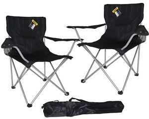 2x Folding Outdoor Black Camping Chair Fishing Foldable Beach Garden Furniture