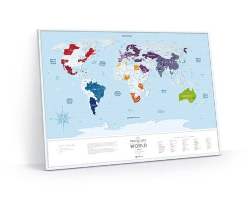 BIG SCRATCH OFF TRAVEL MAP SILVER WORLD MAP PUSH PIN POSTER CARD WALL MAP