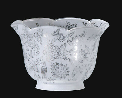 """4"""" Fitter ~ VICTORIAN FLORAL FILGREE ~ Engraved Glass Gas Lamp Shade"""