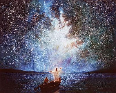 Yongsun Kim CALM AND STARS 41x51 Canvas Giclee Art Print Jesus on Boat at Night