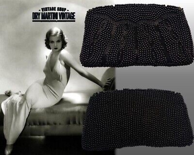 1930s Handbags and Purses Fashion VINTAGE ART DECO 1930s 40s FRENCH JET GLASS BEADED CLUTCH BAG EVENING OCCASION $88.63 AT vintagedancer.com
