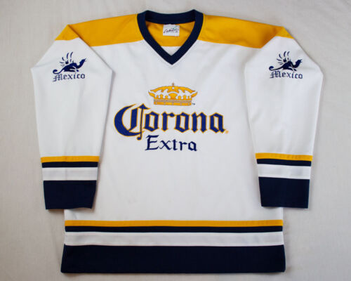 Vintage Corona Extra Beer Hockey Jersey White Home Flaws 90s Beer Promotion L