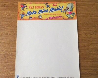 Vintage Walt Disney Productions 1946 Make Mine Music Letterhead Origininal Issue
