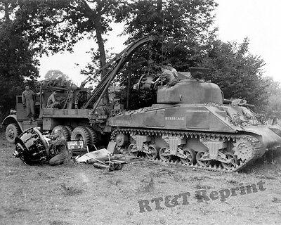 Photograph Vintage WWII M4 Sherman Medium Tank Field Engine Change 1943c  8x10