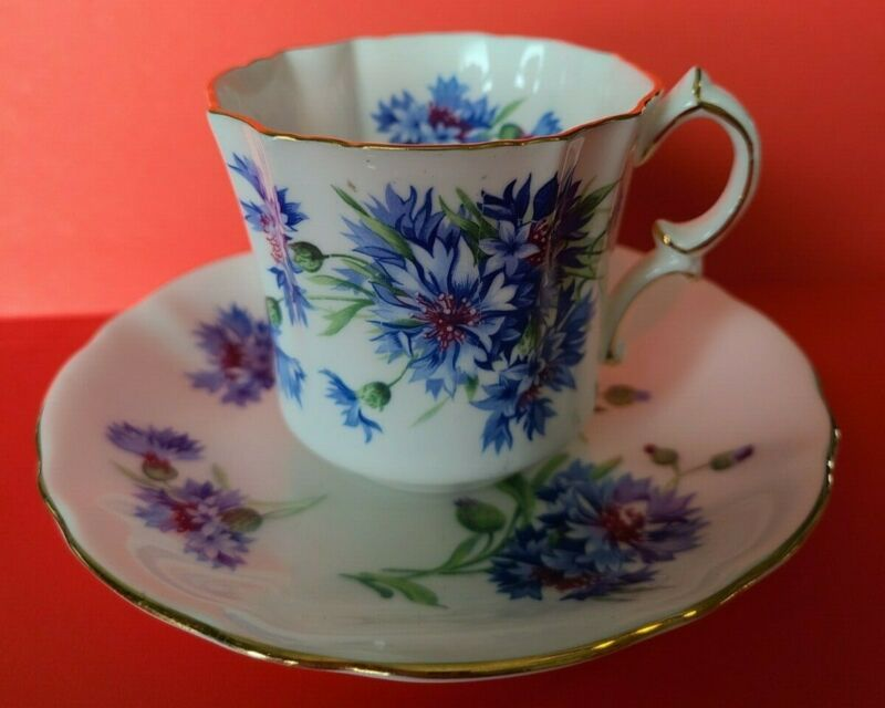 "Vintage Hammersley & Co. Bone China ""Blue Flowers"" Tea Cup & Saucer England"