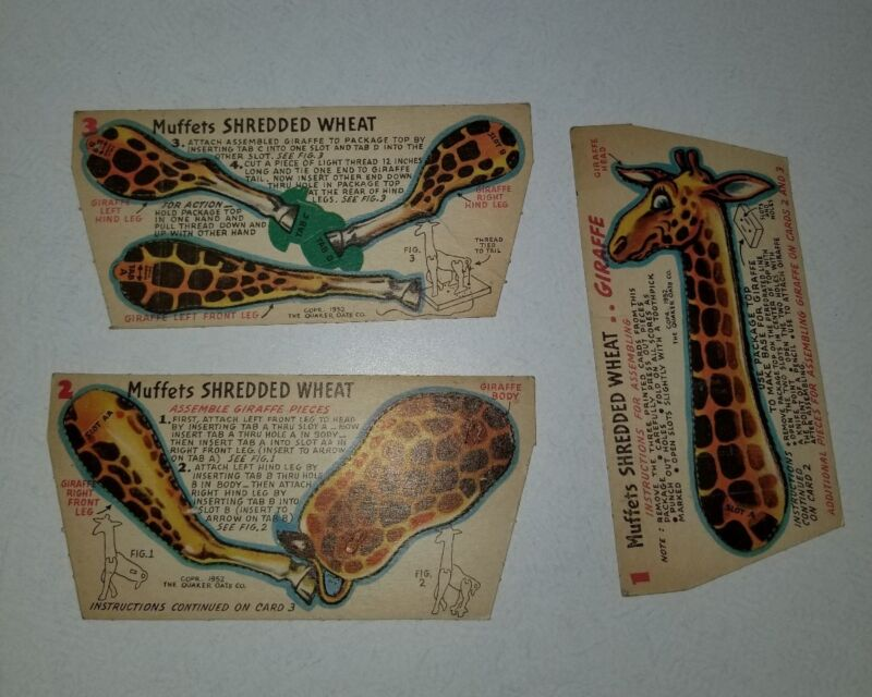1952 Muffets Shredded Wheat CIRCUS Cards Giraffe Set (3) NM-MT