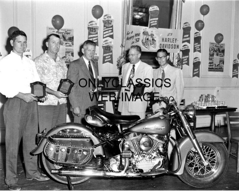 VINTAGE HARLEY DAVIDSON MOTORCYCLE DEALER 8X10 PHOTO HD SALES SIGN TOP SALESMAN