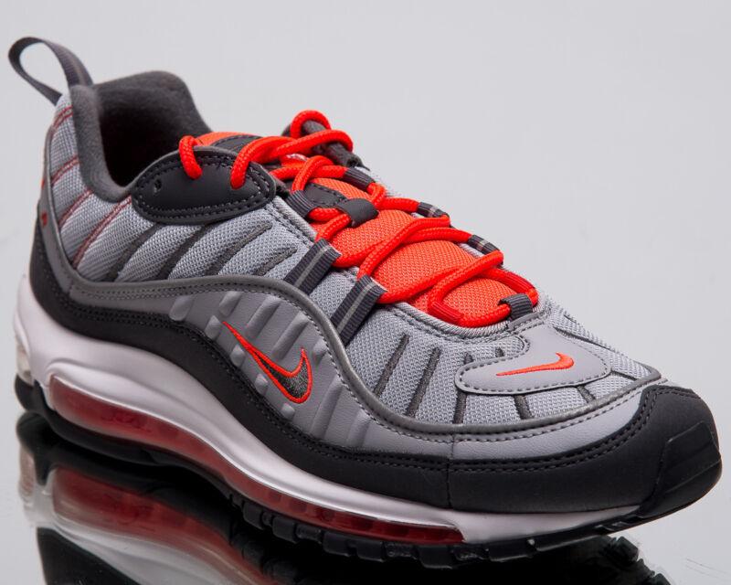promo code 946c1 35df8 Nike Air Max 98 Total Crimson Men New Wolf Grey Lifestyle Sneakers 640744 -006