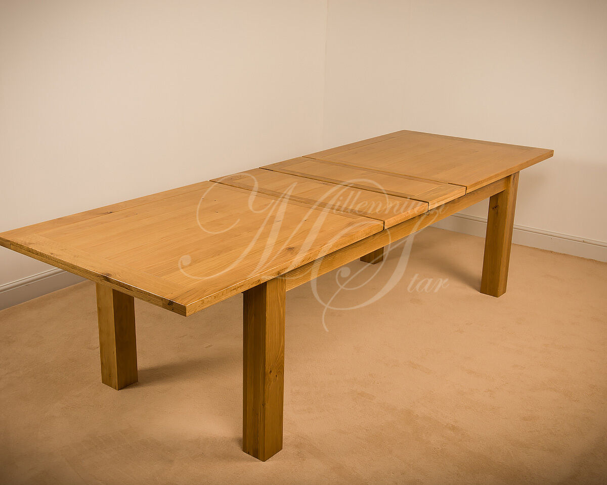 msl solid wood chunky oak extra large extending dining table ebay