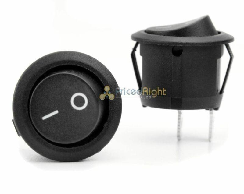 One On / Off Rocker Switch Black Round Snap In 12 Volt 12V Volt EC-1213