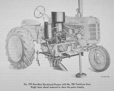 A-179 Blackland Planter Mccormick Ih Farmall Super A Manual 100 130 140 Tractor